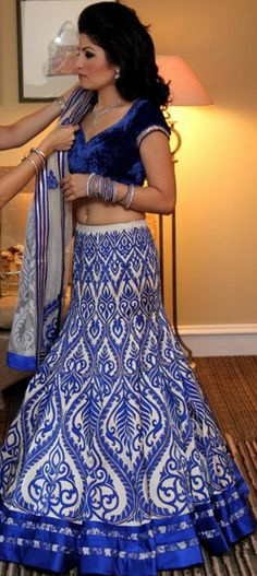 love this royal blue and white indian dress