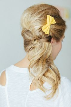 beautiful updo with yellow bow // photo by TheWhyWeLove.com