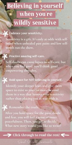Low Self Worth, Highly Sensitive Person, Sensitive People, Vie Motivation, Affirmations Positives, Self Care Activities, Self Confidence, How To Build Confidence, Confidence Building
