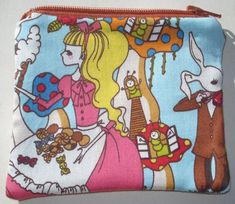 Alice in Wonderland Coin Pouch: Cheshire Cat, Mad Tea Party.
