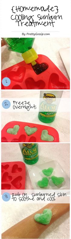 Homemade Cooling Sunburn Treatment. Make some aloe ice cubes, they work well with a sunburn. Or you can use them under your eyes to help with puffiness and dark circles.(Cool Summer Ice Cubes)