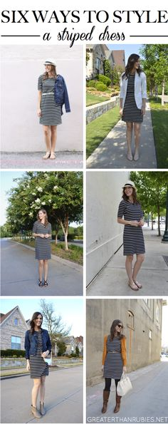 6 ways to style a striped dress (that you can apply to any dress): http://greaterthanrubies.net/mix-it-monday/.