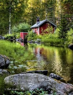 Spring Scenery, Nature Hd, Red Cottage, Water Lighting, Cabins In The Woods, Little Houses, Nature Scenes, How To Take Photos, Countryside
