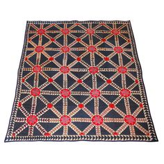EARLY & RARE FLYING GEESE 19THC GEOMETRIC QUILT | From a unique collection of antique and modern quilts at https://www.1stdibs.com/furniture/folk-art/quilts/