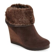 """Lucky Brand 'Torynn' Wedge Bootie, 3 1/4"""" heel ($139) ❤ liked on Polyvore featuring shoes, boots, ankle booties, ankle boots, java suede, wedge bootie, platform wedge booties, wedge booties, platform booties and fur lined boots"""