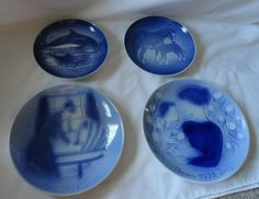 4 Vintage Mors Day Blue Collector Plates Years 1971, 1972, 1972, 2000 Beautiful