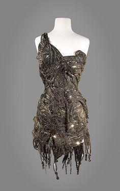Vintage Black and Gold Sequin Dress |=