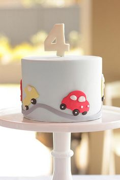 #Car #Cake #Party #Inspiration #Red #Blue #Boys #First #Birthday