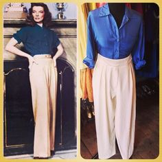 Katherine Hepburn inspired look.  Ladies pure silk shirt - UK SIZE 14 - £14 & Cream high waisted trousers - UK 12 - £15 #vintage #retro #katherinehepburn #oldhollywood #nostalgia #icon #fashion #silk #shirt #cream #trousers #40s #style #trend #androgynous #vintageguruscotland #byresroad #glasgow #westend #scotland