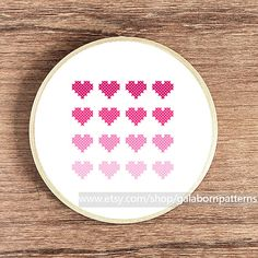 Hearts pink - PDF Counted cross stitch pattern - Modern cross stitch