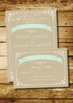 Kraft Paper Vintage Poster Style Wedding Invitation and Response Card Rustic