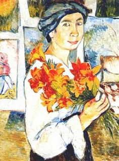 Self-portrait with yellow lilies - Natalia Goncharova