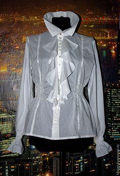 """блузка """"Bianca"""" - белый,однотонный,воланы,блуза из шелка,блузка из хлопка"""