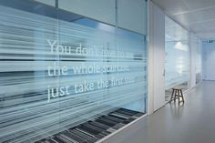 Great texture and inspirational quote! TNT Green office signage system by Studio Dumbar branding branding Contemporary Stairs, Contemporary Apartment, Contemporary Office, Contemporary Interior, Contemporary Cottage, Contemporary Wallpaper, Contemporary Chandelier, Contemporary Style, Office Interior Design