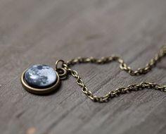 [BIJOU] Full Moon necklace  Tiny pendant  Space jewelry  by BeautySpot, $17.85