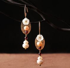 Handmade Victorian Elegant Style Real Pearl, MOP Flower, Garnet Dangle Earrings by Atenacrafts on Etsy