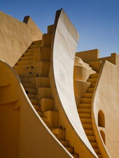 Observatory stairs. Jantar Mantars (The Jantar Mantar is a collection of architectural astronomical instruments) built by Maharajah Sawai Jai Singh II in New Delhi, circa 1728 ~  http://www.travelandtransitions.com/destinations/destination-advice/asia/map-of-india-major-destinations/