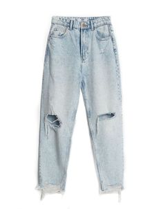 Kpop Fashion Outfits, Girls Fashion Clothes, Edgy Outfits, Mode Outfits, Cute Casual Outfits, Ripped Mom Jeans, High Waisted Mom Jeans, Mom Jeans Outfit Summer, Outfit Jeans
