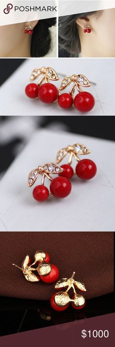 Gold plated cherries stud earrings NWOT Gold plated crystal red cherry earrings with rhinestones. Jewelry Earrings