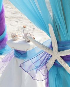 Turquoise and purple aisle style