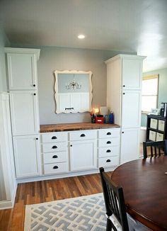 Dining Room Built In Cabinets With Butcher Block Buffet Dinning Cabinet Kitchen