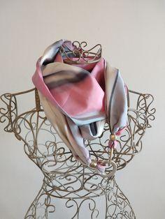 Neck Warmer, Pure Silk, Pink Grey, Hand Painted, Elegant, Handmade, Accessories, Etsy, Women
