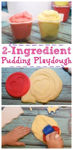 Super easy craft for the kids! Make 2-Ingredient Pudding Playdough with the kids with pudding cups!  They can play with it and eat it! #PGDetailsMatter #IC #ad