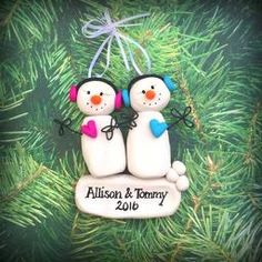 Who doesn't love a snowman, don't they just melt your heart? These adorable snow twins may be personalized with the name and gender of your choosing. Personalized Christmas Ornaments, Keepsakes, Personalized Gifts, Snowman, Twins, Holiday Decor, Custom Christmas Ornaments, Souvenirs, Customized Gifts