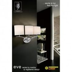 Mantra Eve Wall 3 Light Polished Chrome With White Shade Interior Lighting, Home Lighting, Lighting Design, Living Room Lighting, Polished Chrome, Lamp Light, Luxury Homes, Wall Lights, Mantra