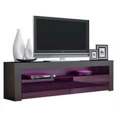 Milano Classic Modern 16 color 63-inch TV Stand | Overstock.com Shopping - The Best Deals on Entertainment Centers - Gray/Wavy Black 65 Tv Stand, Black Tv Stand, Tv Stands, Coastal Furniture, Living Room Furniture, Modern Furniture, Living Room Storage, Storage Spaces, Contemporary Entertainment Center