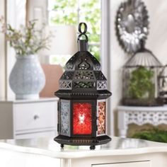 LARGE MULTI-COLOR GLASS MOROCCAN LANTERN from Gift Raiders for $8.95