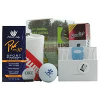 "[GKGG-MNO] 	Gone Golfing Custom Box Kit  The Gone Golfing Kit features a 5 1/4"" x 3 1/2"" customizable gift box which holds three Noodle Plus golf balls, a 16"" x 16"" microfiber towel, a ToweLok hook, a PM411 matchbook tee holder with Zero Friction tees & a blue Loop Pik divot tool, Aloe up SPF 30 1/4 oz. sunscreen and a D Brush.  Product code: GKGG-MNO Qty:	50-149	150-299	300+ ea.	$24.99	$23.99"