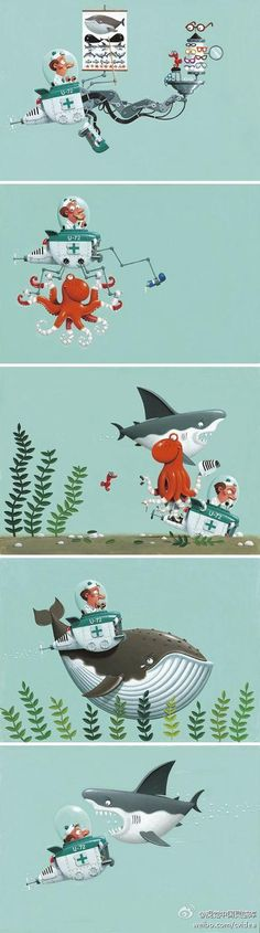 """""""Deep Sea Doctor Dean"""" by Leo Timmers. Wonderful story, wonderful illustrations."""