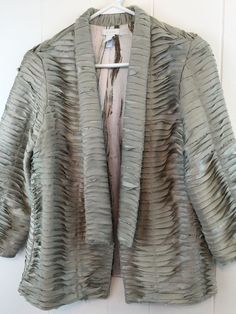 Chico's 0 Green Blazer Layered Applique Open Jacket Satin Lined Small / S…
