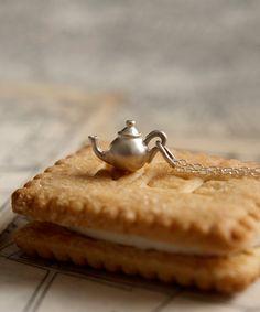 Sterling Silver Teapot Charm Pendant Necklace