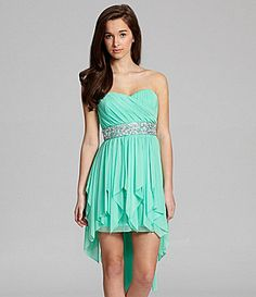 Super cute Might have to get this for prom #Sequin Hearts Strapless Beaded HiLow Dress #Dillards #2013