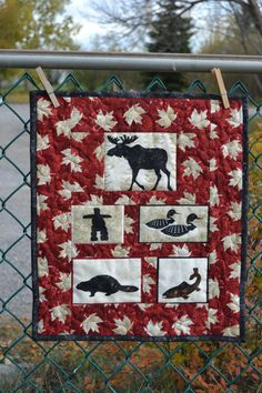 Oh Canada Wall hanging by MagpieQuilts Canadian Quilts, Canadian Art, Quilts Canada, Canada Wall, Wildlife Quilts, Printing And Binding, Tie Quilt, Quilt Of Valor, Leaf Crafts