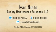 Tarjetas de presentación Quality Maintenance Solutions, Kentucky, United States.
