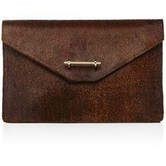 Oscar de la Renta Envelope clutch ($1,490) ❤ liked on Polyvore featuring bags, handbags, clutches, oscar de la renta, envelope clutch, oscar de la renta handbags, brown envelope clutch and brown handbags