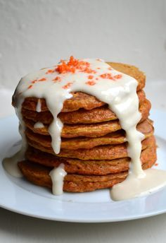"Carrot Cake Pancakes and Cream Cheese Syrup - Don't be fooled; this is probably the healthiest thing you'll ever eat with the word ""cake"" in the title. If you are looking for a dessert-y breakfast, however, just pour on some Cream Cheese Syrup. Breakfast And Brunch, Breakfast Pancakes, Breakfast Dishes, Breakfast Options, Breakfast Casserole, Best Pancake Recipe, Pancake Recipes, Carrot Cake Pancakes, Little Lunch"