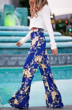 cbb873e1118 Hot Sale Summer Women Pants Casual High Waist Flare Wide Leg Long Pants  Palazzo Trousers Floral Plus Size Classic Pant Preppy