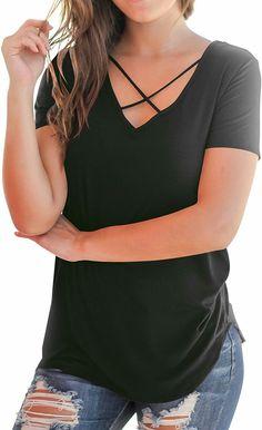 398a67688 Women's Casual Short Sleeve Solid Criss Cross Front V-Neck T-Shirt Tops