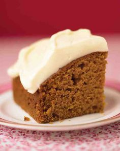 Cinnamon, ginger, nutmeg, allspice, and cloves give fall flavor to this pumpkin cake. The easy honey-cream cheese frosting adds a sweet and tangy flourish. This recipe works well in a square pan or a loaf pan.
