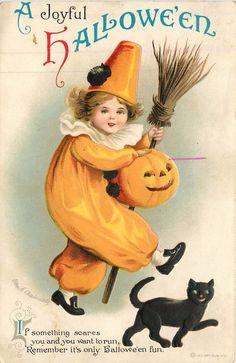 Halloween - Clapsaddle - Int Art 1301 -  Clown Pierrot - JOL - Black Cat - 6436…