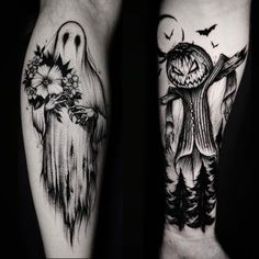 If you believe that Halloween is not just a festival but a lifestyle then you should definitely get a Halloween tattoo. Heres the best Halloween tattoos. Leg Tattoos, Body Art Tattoos, Sleeve Tattoos, Cool Tattoos, Leg Tattoo Sleeves, Styles Of Tattoos, Tatoos, Awesome Tattoos, Piercing Tattoo