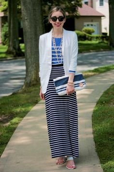 Stripes on Stripes on Stripes  /  black maxi skirt BCBG skirt - white Forever 21 blazer - blue striped JCrew shirt