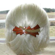 "VTG HAIR CLIP GRIP HEAD PIECE BARRETTE ART DECO MELAMINE BROWN GOLD 4"" SIGNED 32$"