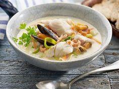 Zoals de zuiderse vissoep aan de Vlaamse kust gemaakt wordt: met kabeljauw en garnalen