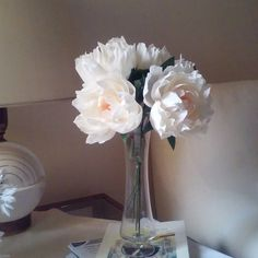 Paper peonies, a small bouquet in a vase