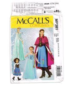 b1180bc1199d Winter Snow Princess Dress Halloween Costume Pattern, McCall's MP381 M7000  Girls' Dress up, Kids Size 3-4. 5-6, 7-8 Anna Elsa gown, cape